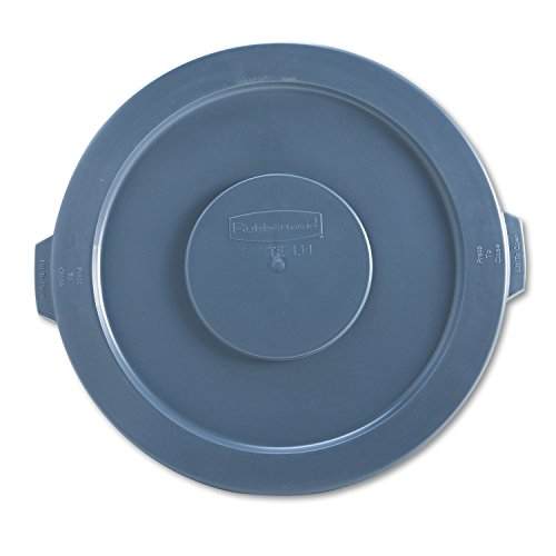 Rubbermaid 263100GY Round Flat Top Lid, for 32-Gallon Round Brute Containers, 22 1/4', Dia, Gray