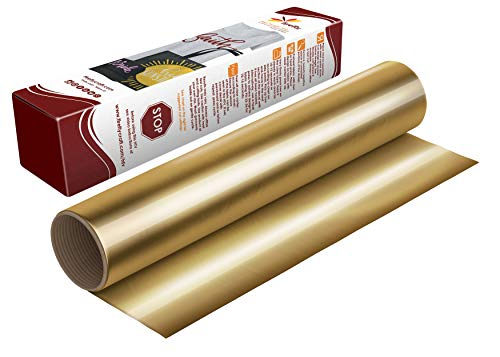 Firefly Craft Elastic Foil Gold Heat Transfer Vinyl Sheet | Metallic Gold HTV Vinyl | Foil Gold Iron On Vinyl for Cricut and Silhouette | Mirror Style Heat Press Vinyl for Shirts - 12 x 20 Sheet