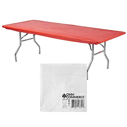 Kwik-Covers Rectangular Plastic Table Covers 8' Bundle of 5 with Seventy (70) Ohm Commerce Paper Napkins - Indoor or Outdoor Fitted Table Covers (Table NOT Included) (30'x 96' Red)