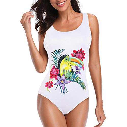 OSYARD Badeanzug Schwimmanzug Damen Einteiler Schlankheits Bademode Strandmode Frau Retro Printed BauchwegSwimsuit Monokini
