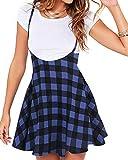 YOINS Jupe Femme Skirt à Carreaux Été Chic Mini Jupe Plissée Jupe Courte Taille Haute Bretelles Zippée Bas Carreaux 01-Bleu L
