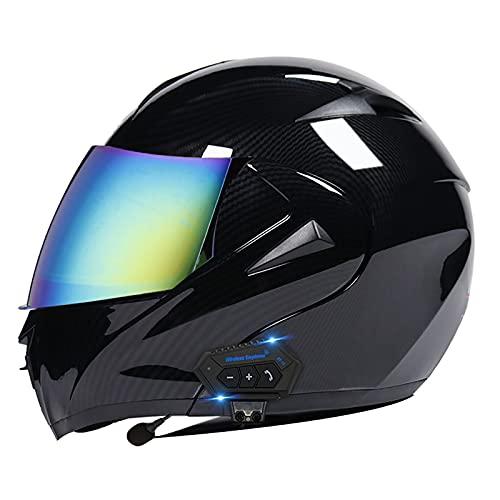 LIRONGXILY Casco Moto Modular Casco Moto Bluetooth Integrado Casco Moto Integral para Hombre o Mujer Casco Moto Modular con Pantalla y Visera ECE Homologado (Color : A, Size : 59-60(L))