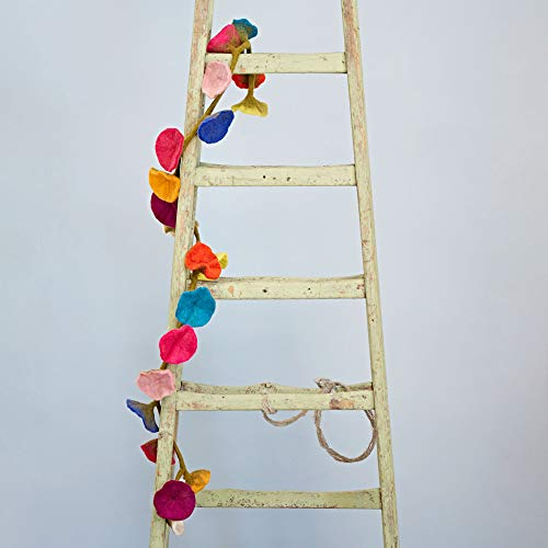 Handcrafted Felt Flower Garland | Multicoloured | 160cm Long with 20 Flowers | Hand Felted Hanging Decoration | Garden Garlands and Bunting Alternative | Mantelpiece Display