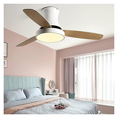 DOUYUAN Luz Moderna del Ventilador de Techo, con luz LED, Adecuada para Comedor, Sala de Estar, Cocina, Ventilador de succión nórdico de Madera, Ventilador de Control Remoto