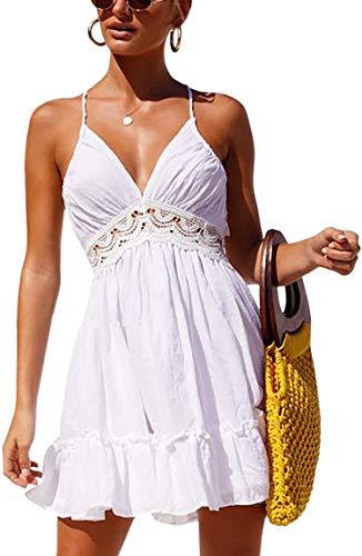 ECOWISH V Ausschnitt Kleid Damen Spitzenkleid Träger Rückenfreies Kleider Sommerkleider Strandkleider Weiß2 S