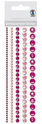 Ursus 75020004 - Schmuckstein Sticker Bordüren, rund, pink/rosa