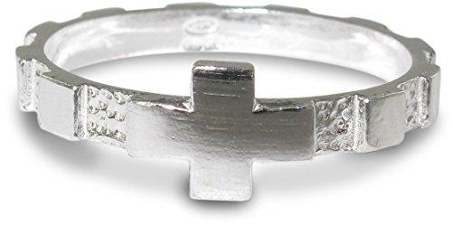 Anillo rosario de plata 925 con 10 cuadrados incrustados - Diámetro interno...