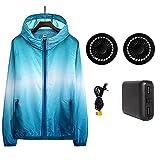 Yajun Chaqueta de Aire Acondicionado Verano al Aire Libre Gradiente Ropa de Protección Solar Deportes al Aire Libre Abrigo de Pesca + Ventilador Enfriamiento Rápido,Blue,M(160