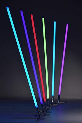 Xenotec LED RGB-Leuchtstab 160cm Ø 3cm inkl. Fernbedienung u. Halterung, dimmbar, freie Farbwahl oder automatischen Farbwechsel, 2m Steckertrafo Zuleitung, OHNE STANDFUß