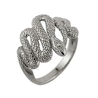 ダイヤモンド 18金 蛇 メンズリング k18 ホワイトゴールド ユニセックス 指輪 男 (7)