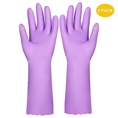 Wasserdichte, latexfreie Haushaltshandschuhe für Geschirrspülen, für die Wäschereinigung, PVC-Baumwollstoff, 2 Paar, Größen M+L, Violettfarben