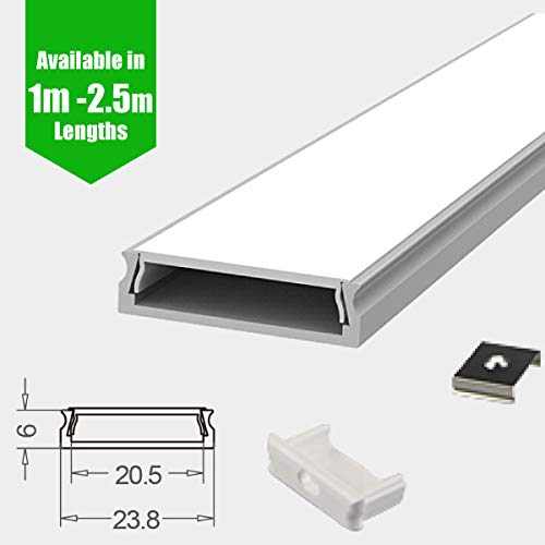 Perfil de aluminio LED/Canal/Extrusión 1 m/2 m/2,5 m para tira de LED flexible, con difusor de tira LED, tapas finales y clips de montaje, Aluminio anodizado plateado, Philips Hue 2m (24mm W x 6mm H)