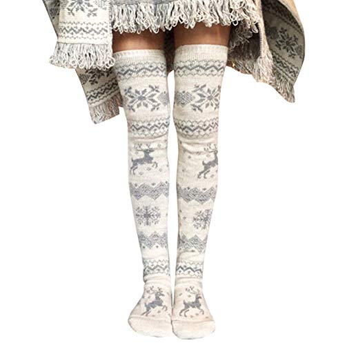 Wodeni Women Christmas gebreide wandelstokken dikkened Thigh High Over Knee Long Snowflakes Elk patroon Socks