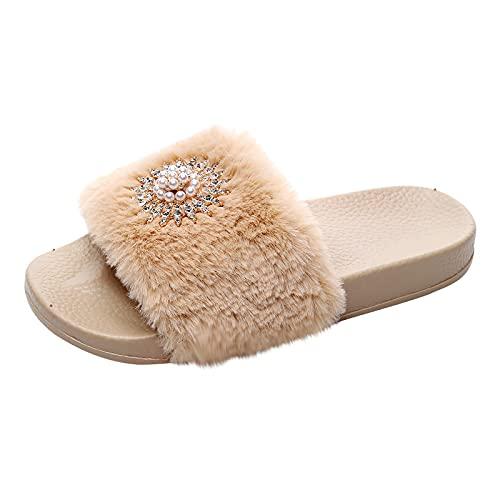 Zapatos informales de plataforma cómodos, para mujer, para el hogar, de felpa, transpirables, para la playa, vacaciones, caqui, 41 EU