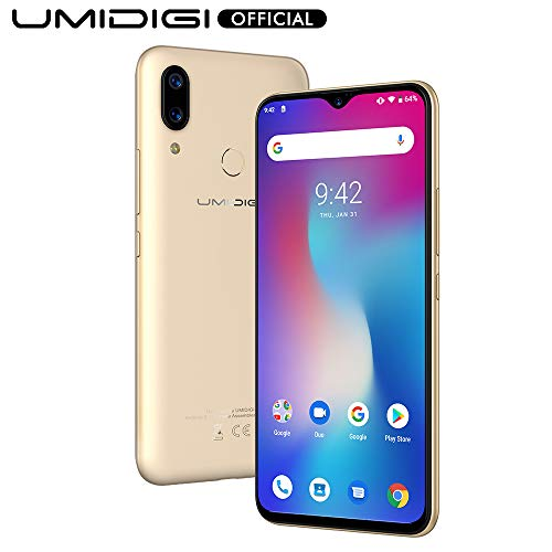 UMIDIGI Power, Smartphone Android 9.0 Pie 5150mAh 18W 6.3'FHD+ Notch a goccia 4GB+64GB Octa-Core Helio P35 Fotocamera 16MP+5MP, NFC, Global Version - Oro