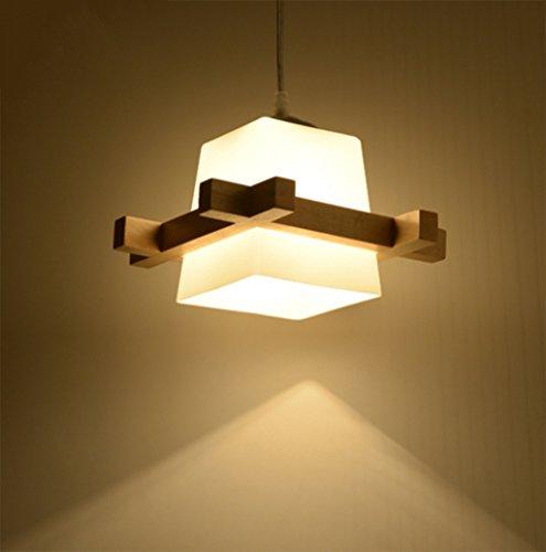 Aglia UK Lampadario giapponese in legno nordico, semplici lampade in legno massello, luci della personalità di casa