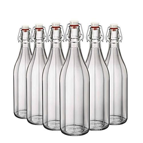 Bormioli Rocco Tabla Agua Oxford Claro Vino de la porción Superior del oscilación de la Botella - 1000 ml - Pack de 6