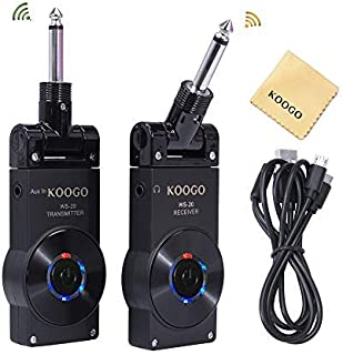 Koogo Guitar Wireless System with Rechargeable 2.4GHz Digital Guitar Transmitter and..