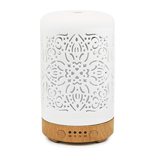 Earnest Living Essential Oil Diffuser White Ceramic Diffuser 100 ml Timers Night Lights and Auto Off Function Home Office Humidifier Aromatherapy Diffusers for Essential Oils