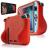 Orzly Comfort Grip Case for Nintendo Switch - Protective Back Cover for use on The Nintendo Switch Console in Handheld Gamepad Mode with Built in Comfort Padded Hand Grips - RED
