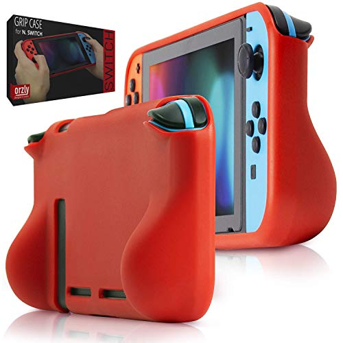 nintendo switch comfort grips Orzly Comfort Grip Case for Nintendo Switch - Protective Back Cover for use on The Nintendo Switch Console in Handheld Gamepad Mode with Built in Comfort Padded Hand Grips - RED