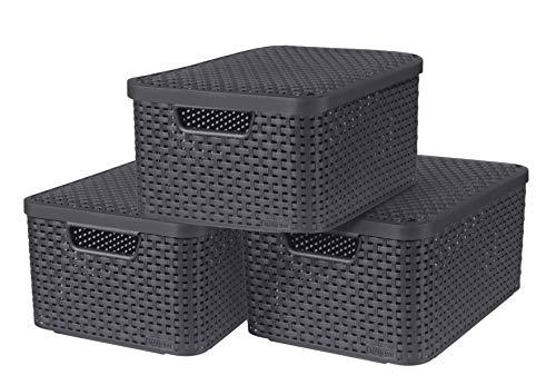 CURVER Lot de 3 Boîtes avec Couvercle - 3 Caisses (3*18L) en Plastique avec un Design Rotin Tressé pour Salle de Bain, Chambre, Bureau - Poignées Ergonomiques - Gris foncé