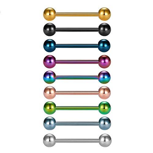 Vcmart 9 Unidades de Titanio Anodizado Acero Quirúrgico Nipple Ring Ring Body Piercing 14G