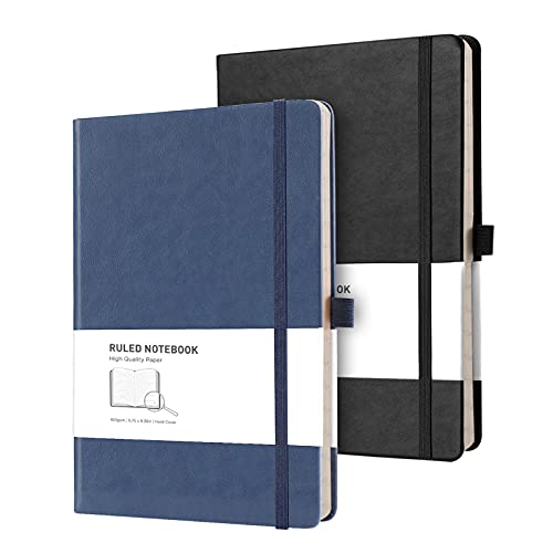 RETTACY Lined Journal Notebook Hardcover 2 Pack - A5 College Ruled Writing Notebook with 376 Numbered Pages,100gsm Thick Paper 5.75'' × 8.38''