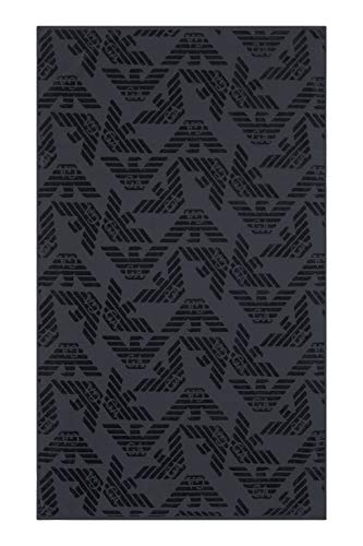 Emporio Armani Swimwear Herren Towel Beachwear Allover Eagle Sponge Bademantel, Grau (Antracite 02842), Medium (Herstellergröße: TU)