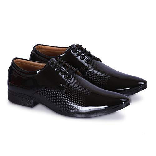 DE LOYON Men's A206 Black Patent Leather Formal Shoes (Black1,8)
