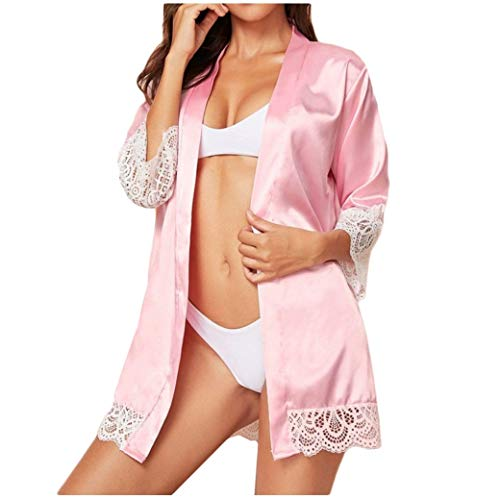 Eaylis Damen Dessous Sexy Lace Schnüren Sich Silk Lange Hülsen Satin Pyjama Nachtzeug Robe mit Gurt Bademantel Frauen Unterwäsche