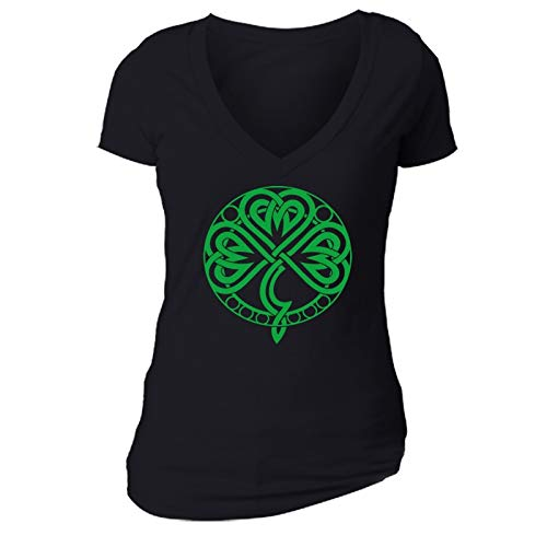 XtraFly Apparel Women's Celtic Knot Shamrock St. Patrick's Irish V-Neck Short Sleeve T-Shirt Black