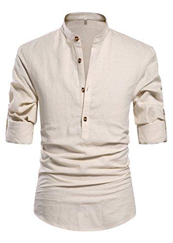 NITAGUT Men Henley Neck Long Sleeve Daily Look Linen Shirts Casual Beach T Shirts Beige-US S