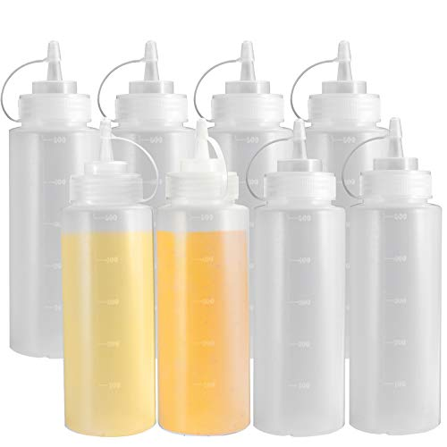 8 Pack Condiment Squeeze Bottles, OAMCEG 16 OZ Durable Plastic Squeeze Squirt Bottle with Discrete Measurements, for Ketchup, BBQ, Sauces, Syrup, Condiments, Dressings, Arts and Crafts - BPA Free