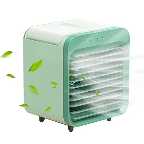 Mini Ventilador de Escritorio Ventiladores de Mesa pequeños Función de humidificación Aire Acondicionado Enfriador Función purificadora Ventilador de Escritorio pequeño (Color : Verde)