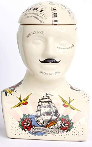 Sifcon International plc 30 cm große Keramik-Aufbewahrung für Phrenologie, Tattoo-Kopf, dekoratives Display