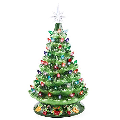 """Joiedomi 15"""" Ceramic Christmas Tree with Green Base, Prelit Xmas Tree with Extra Yellow Star Topper for Home and Office Tabletop Decoration"""