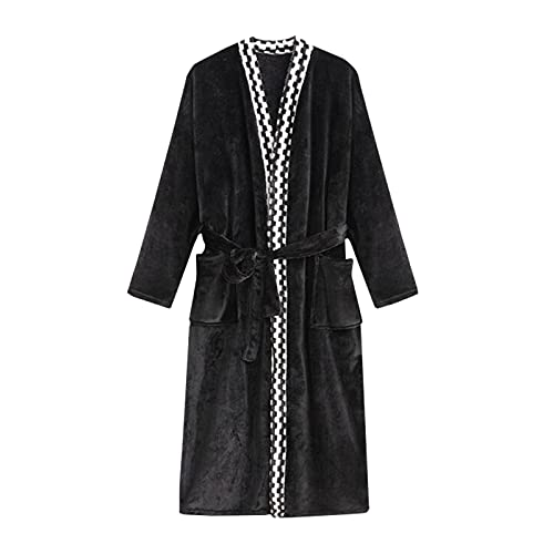 Albornoz de bata de pijama, bata para hombres y mujeres, de franela, coral, terciopelo, camisón largo, ropa de casa, con bolsillos, Negro , L