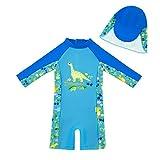 upandfast Bañador para bebé con sombrero solar UPF 50+, Dinosaurio azul., 3-6 Meses