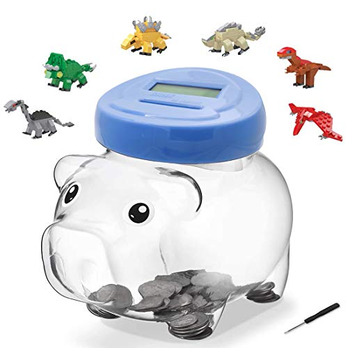 Happy Life Selection Piggy Bank for Girls, Boys, Adults, LCD Display Electronic Coin Bank Automatic Counting Coin Counter as Gift on Christmas, Birthday, Include One Dinosaurs Building Blocks Toy Egg