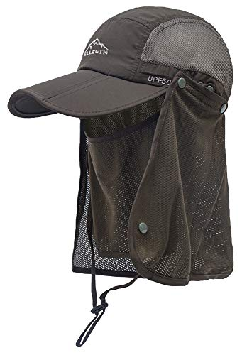 ELLEWIN Outdoor Fishing Flap Hat UPF50 Sun Cap Removable Mesh Face Neck Cover, D-army Green/ Mesh Neck Cover, M-L-XL