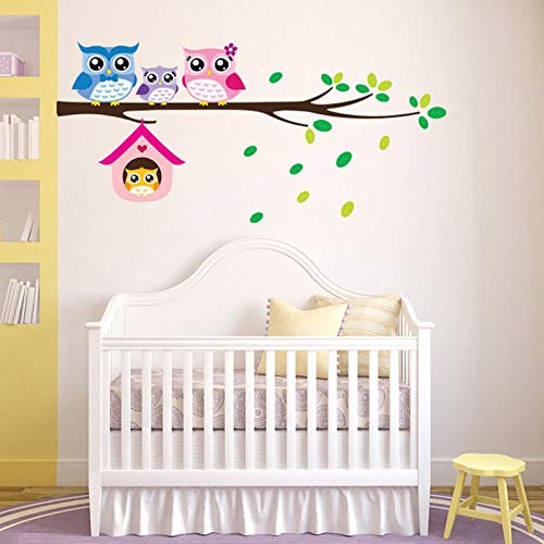 WOKAO Cartoon Owl Family On Tree Wall Stickers For Kids Rooms Home Decoration Nursery Mural Art Decals Animals Sticker Wallpaper