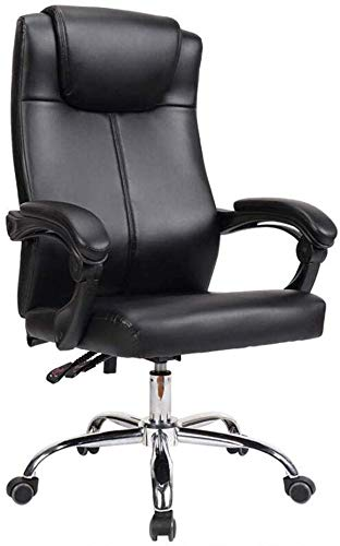 WYL Degree Swivel Executive Ergonomic Armrest High-Density Thick Foam Comfortable Service Artificial Leather Fabric, Steel (Color : Black)