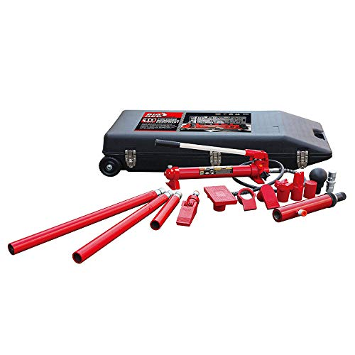 BIG RED T71001L Torin Portable Hydraulic Ram: Auto Body Frame Repair Kit with Rolling Blow Mold Carrying Storage Case, 10 Ton (20,000 lb) Capacity, Red