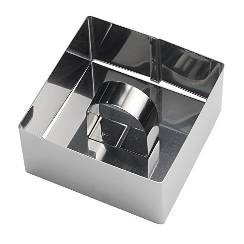 Lot de 4 anneaux à dessert Cercles carré avec 4 anneaux en acier inoxydable et 4 anneaux Stamper Petit Gâteau Pâtisserie OUTILS Ø 8 cm Hauteur : 4 cm