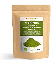Moringa Oleifera Bio in Polvere [ Qualità Premium ] 400g. 100% Biologica, Naturale e Pura. Foglie Raccolte dalla Pianta di Moringa Oleifera. NaturaleBio