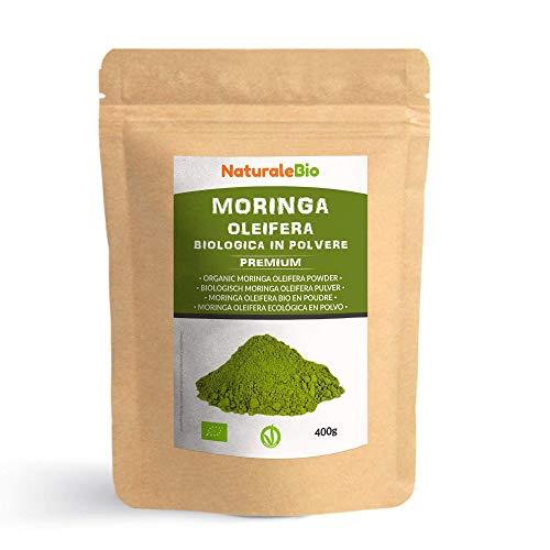 Moringa Oleifera Ecológica en Polvo [Calidad Premium] de 400g. Moringa Powder Organica, 100% Bio, Natural y Pura. Hojas Recogidas de la Planta de Moringa Oleífera. NaturaleBio