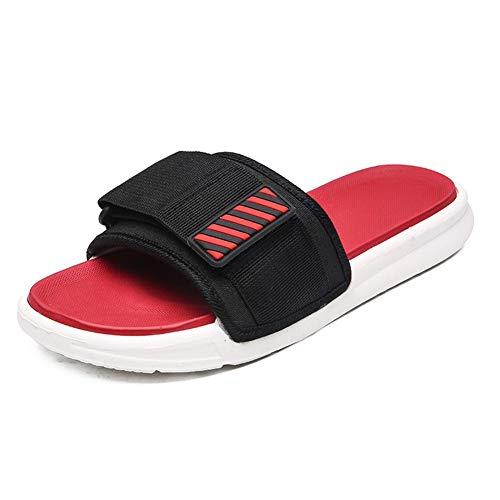 Sandales d'homme Tout-Match Chaussures Casual Bascule New Beach Chaussons Mode Casual Pantoufles à Bout Ouvert pour Homme (Color : Black Red, Size : 43)