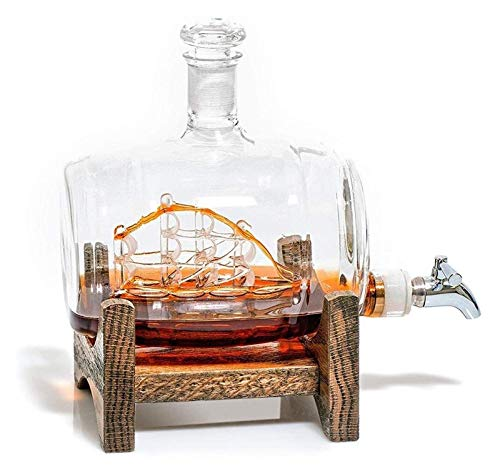 Decantatori di navigazione della navigazione Acciaio inossidabile Distributore di liquori dell'acciaio inossidabile per il tequila Bourbon Bourbon Rum Regali correlati alcolici per papà (500ml) Decant