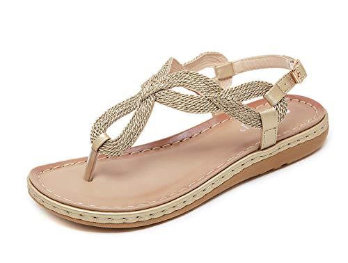 Sandalias de verano para mujer, antideslizantes, planas, sandalias de playa bohemias, sandalias de playa casuales, 123, dorado, 38